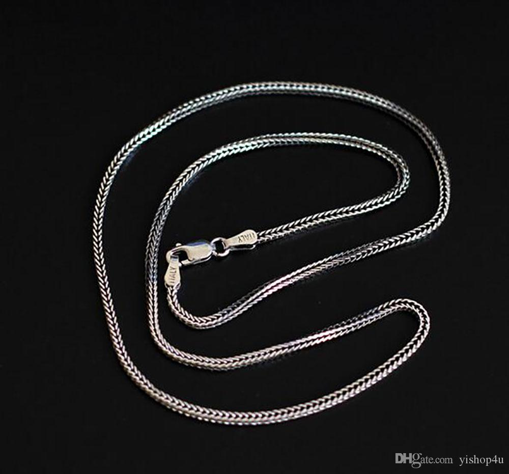 1.6mm 925 Sterling Silver Fox Tail Chain Necklace Fashion Chains Men Women Jewelry Necklace DIY accessories16 18 20 22 24 26Inch