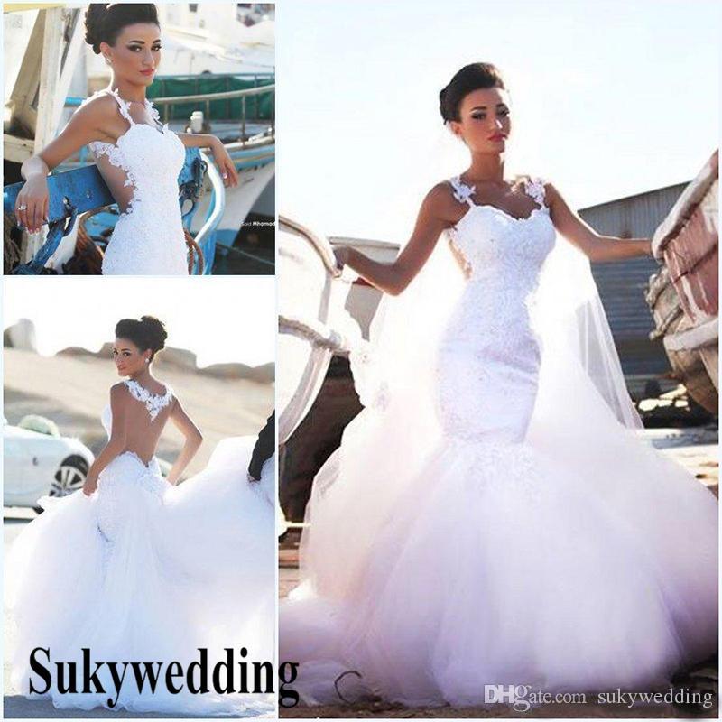 Incredibile 2019 abiti da sposa abiti da sposa Mermaid Sweetheart Appliques Abiti da sposa Detto mhamad Medio Oriente arabo Mermaid Paese
