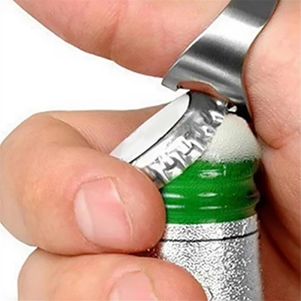 22mm Mini Bottle Opener Stainless Steel Finger Ring Ring-shape Bottle Beer Cap Opening Remover Kitchen Gadgets Bar Tools