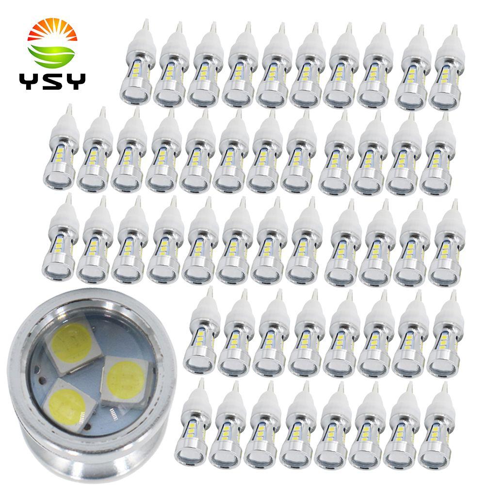 Ysy 50pcs T10 W16W Led ışık 3030 15 SMD Beyaz Nonpolarity İçin Universal Araç Ters Ampul Araç Şekillendirme 12V