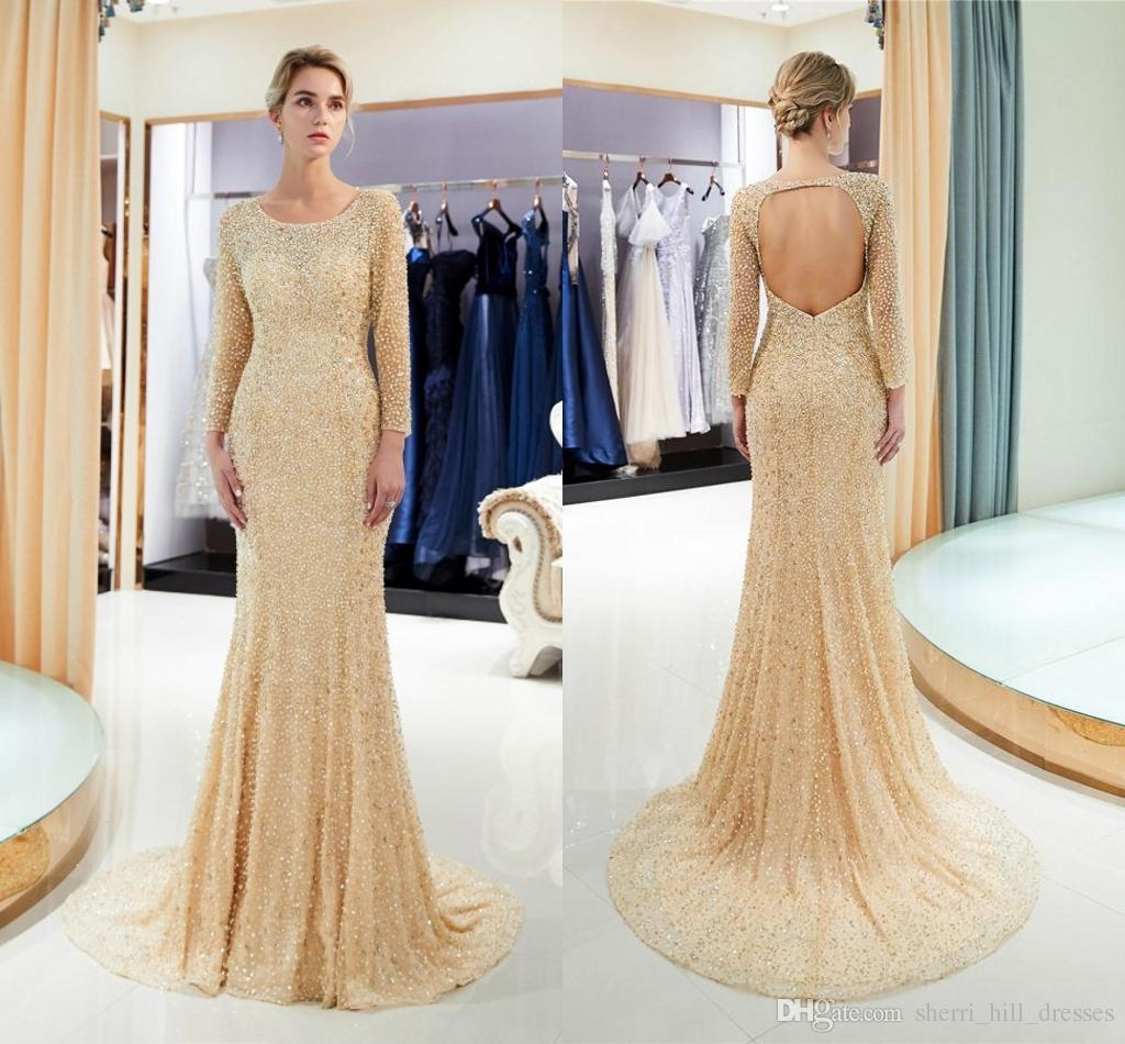 Fashion Elegant Round Collar Long Sleeves Mermaid Heavy Beading Tulle Long Party Formal Evening Dresses Women Night Prom Party Gown HY4268