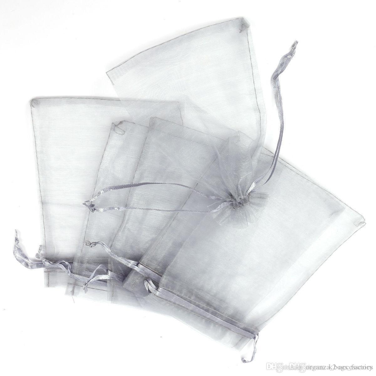 Vendas quentes ! 100 pcs prata cinzento cordão Organza Presente Embalagem sacos 7x9cm 9x11cm 10x15cm festa de casamento festa de natal sacos de presente