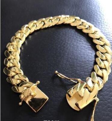 Ouro cubano do bracelete 14k da ligação de Miami dos homens enchido sobre o sólido 10mm largamente