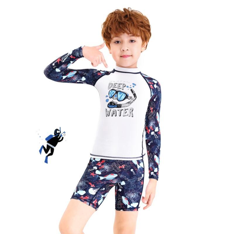 2020 Kinder Badeanzug lange Hülse einteilige Badebekleidung zurück Zipper Elastic Taucheranzüge Schnorcheln Surfen Wetsuits c Kinder