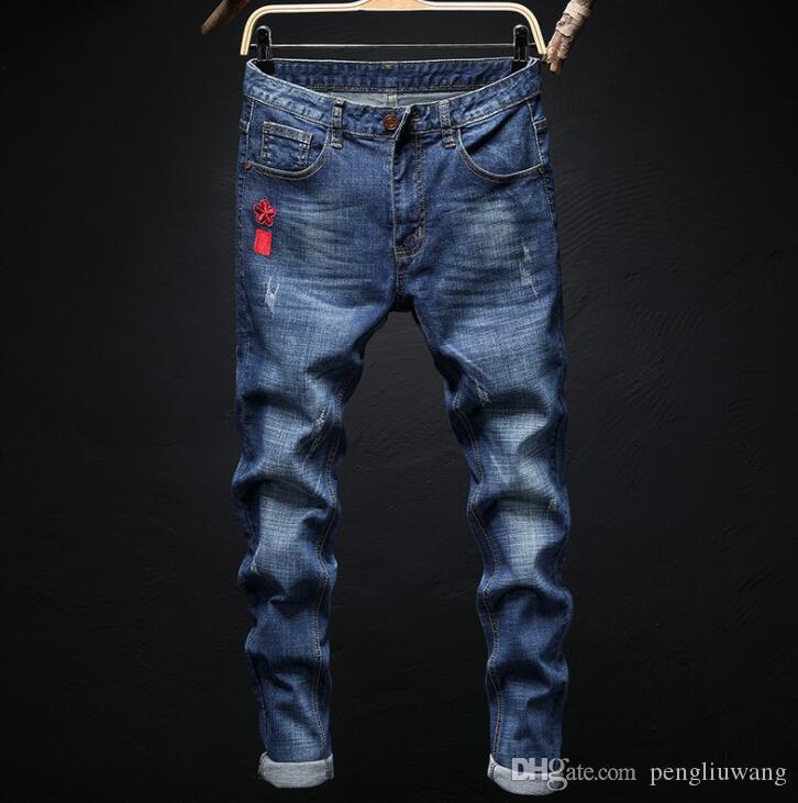 Calmar brodé style chinois pas cher jeans hommes biker jeans Droite hommes pantalons pantalons en denim masculin masculino moto designer de mode