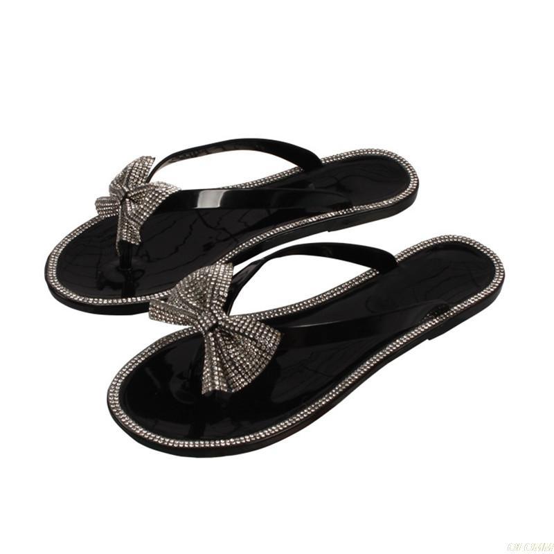 Лето Женская обувь Bling Слайды горный хрусталь флип-флоп черный Тапочки Мода Пляж флип-флоп