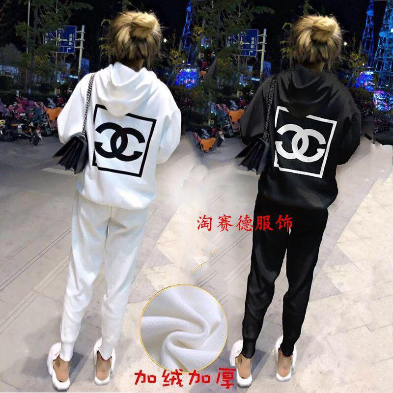Design traje de invierno con capucha de lana versión coreana del estudiante femenino niñas damas pantalones rápida celebridad web de dos piezas