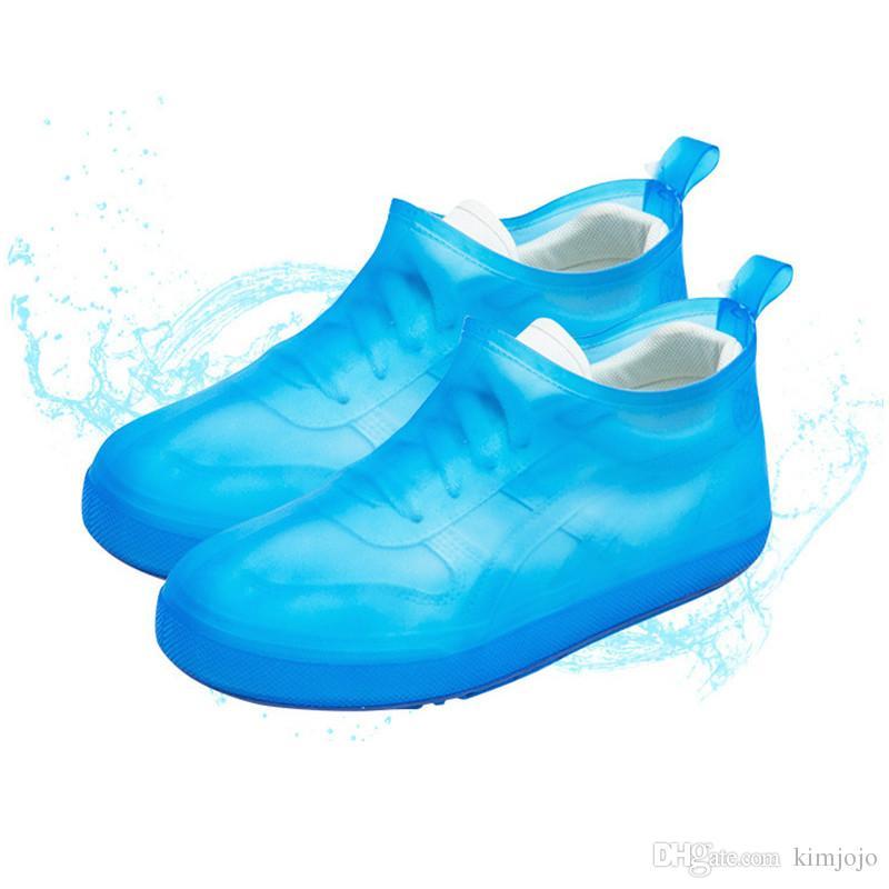 3 couleurs imperméable chaussures couvre bottes de pluie famille réutilisable PVC antidérapant chaussures couvrent dames botte de pluie