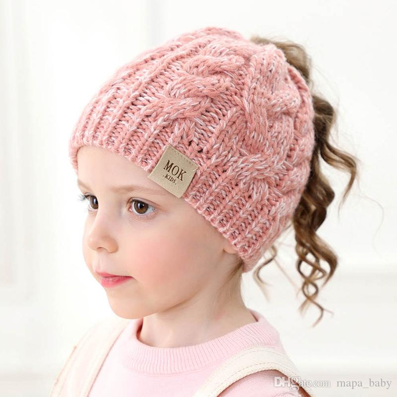 Kids Knitted Hats Baby Winter Knitted Hats Warm Trendy Beanies Crochet Caps Outdoor Slouchy Beanies with Hole