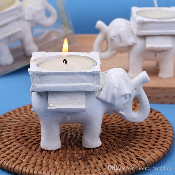 wholesale Resin Lucky Elephant Candle Holder Tea Light Candle Holder Wedding Birthday Gifts Decoration Free Shipping
