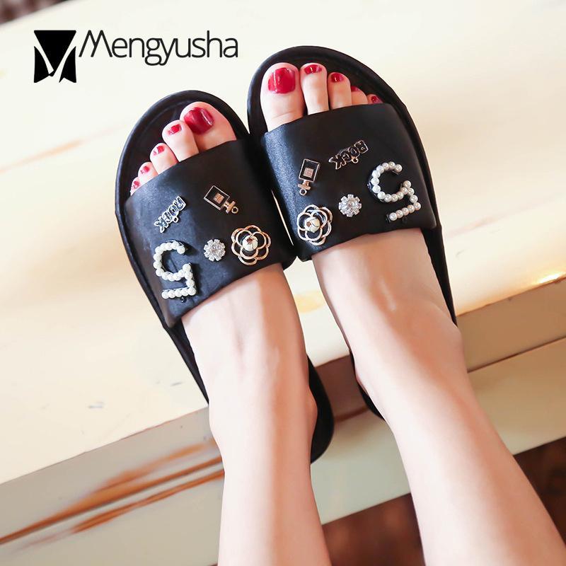 Summer Big size Shoes Women Perfume Decoration Slippers women Silk Beading flip flops Camellia pearl sandals women Home slippers T200411