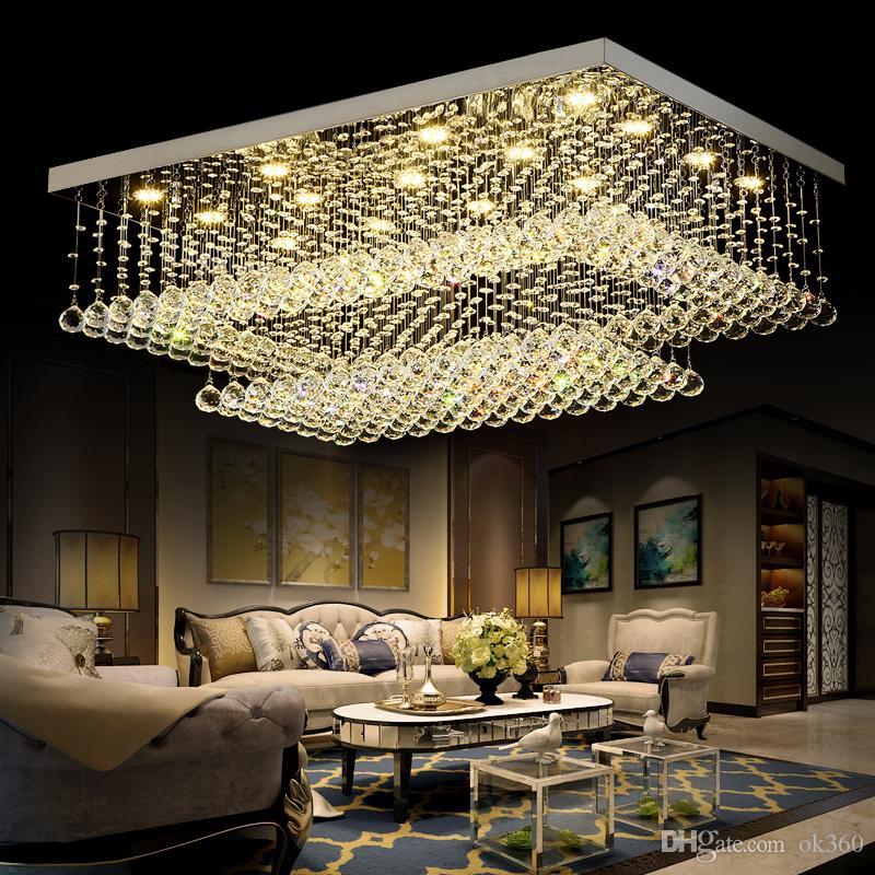 Moderne Moderne Fern LED Kristall-Kronleuchter Europäische LED-Deckenleuchten für Wohnzimmer Rechteckige Flush Mount Deckenbeleuchtung