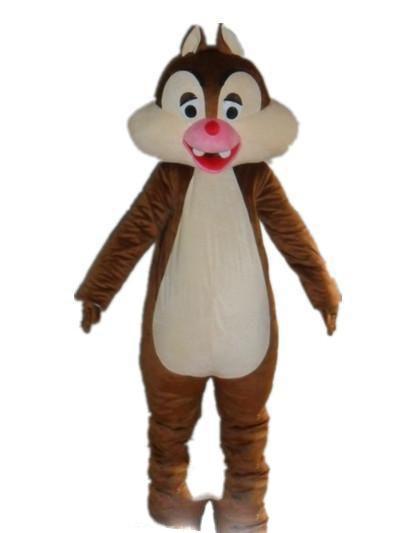 Vente d'usine à prix réduits 2018 un costume de mascotte chipmunk brun avec une bouche rouge pour adulte