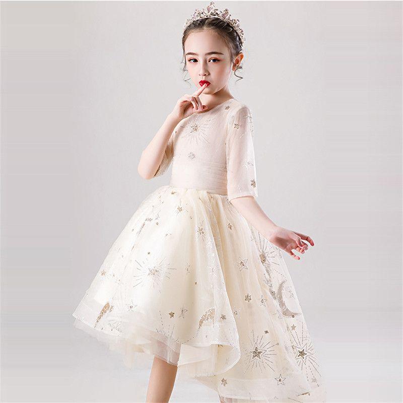 3 ~ 13T Little Girls enfants élégant demi-manches princesse queue robe de soirée pour enfants Mode Party Guzheng Piano robe de bal