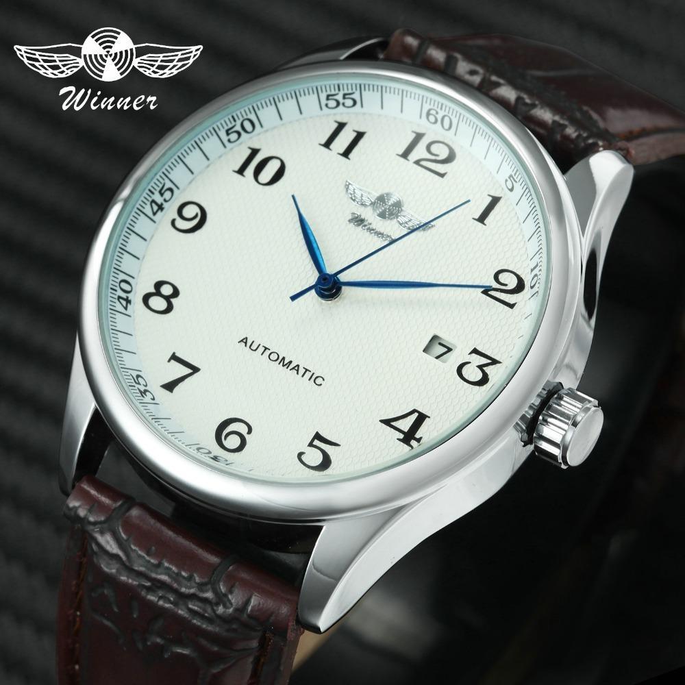 Mode Geschäftsleute Automatische Armbanduhren Lederband Männliche Mechanische Uhren Kalender Datum Uhr Montre Homme + Geschenkbox Y19062004