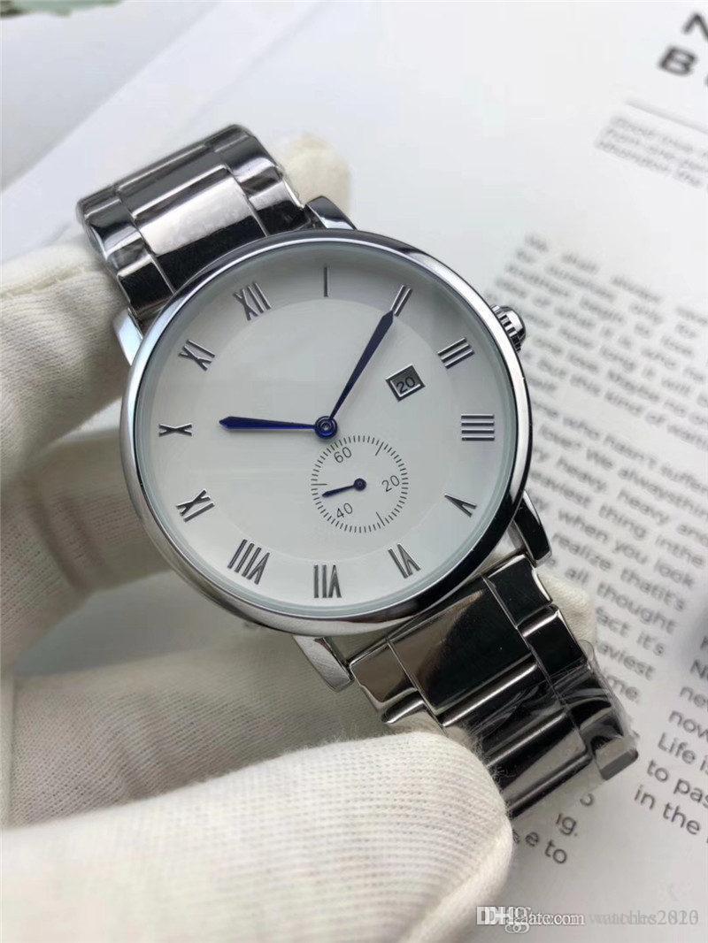 orologi degli amanti di modo con il designer del nastro in acciaio inox Femminile Orologi in numeri romani marchio ora orologio da polso Data Coppie Tutto Dial lavoro