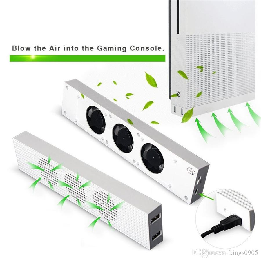 High quality Cooling Fan For Xbox One S Built-in Adjustable Micro USB Connection Cooler with 3 High Speed Fans for Xbox One S Console