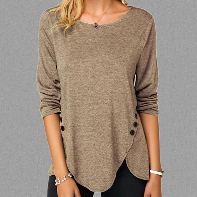 GAOKE Katı Düğme Tişörtlü Kadınlar Tişört Moda Giyim 2020 Tops Sonbahar Uzun Kollu Pamuk Tişört Femme Artı boyutu