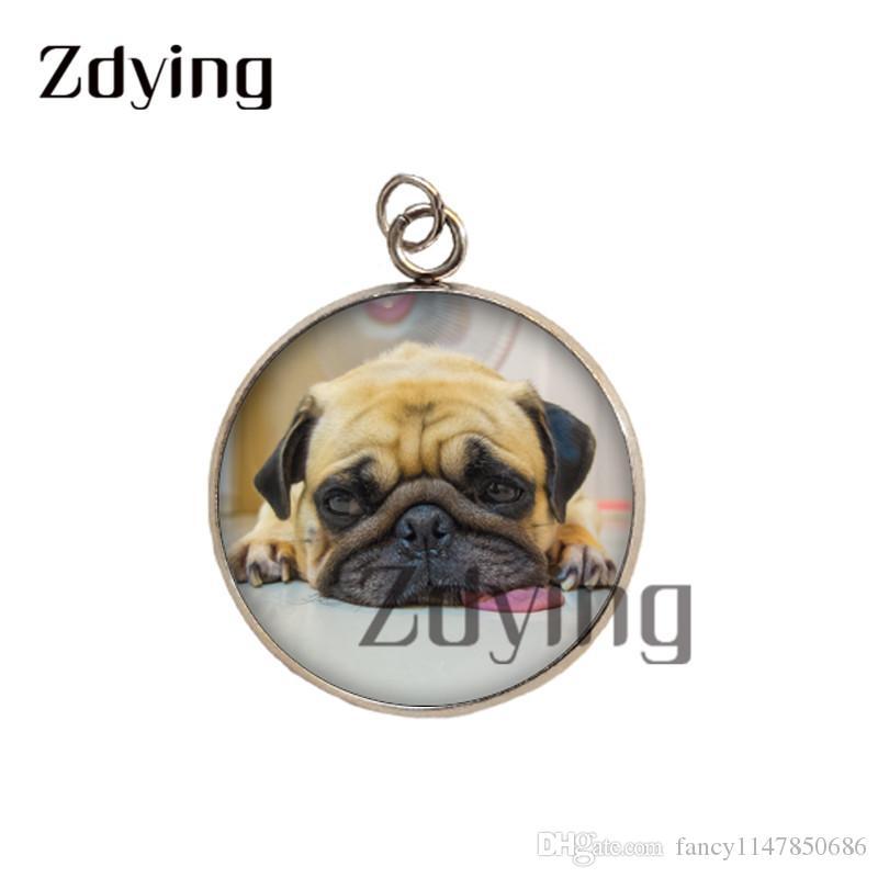 Dog Pet aço inoxidável Zdying alta qualidade pingentes de vidro cabochão animal cão Photo Dome Acessórios encantos Jóias D0014