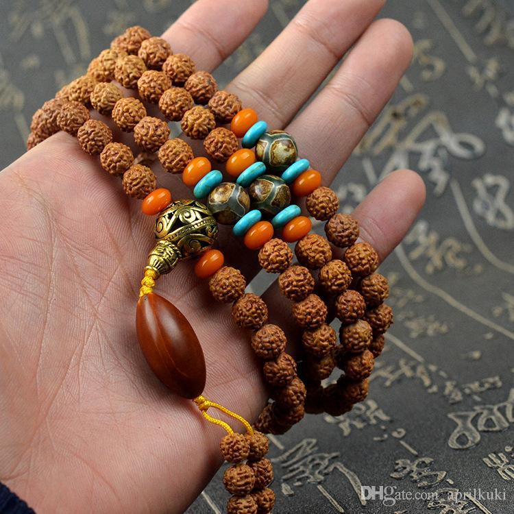 Горячие Продажи Природных Бодхи Мала 108 Бисер Браслет 7-8 мм Диаметр Бусины Буддийская Молитва Будда Медитация Браслеты для Женщин Мужчин Ювелирные Изделия