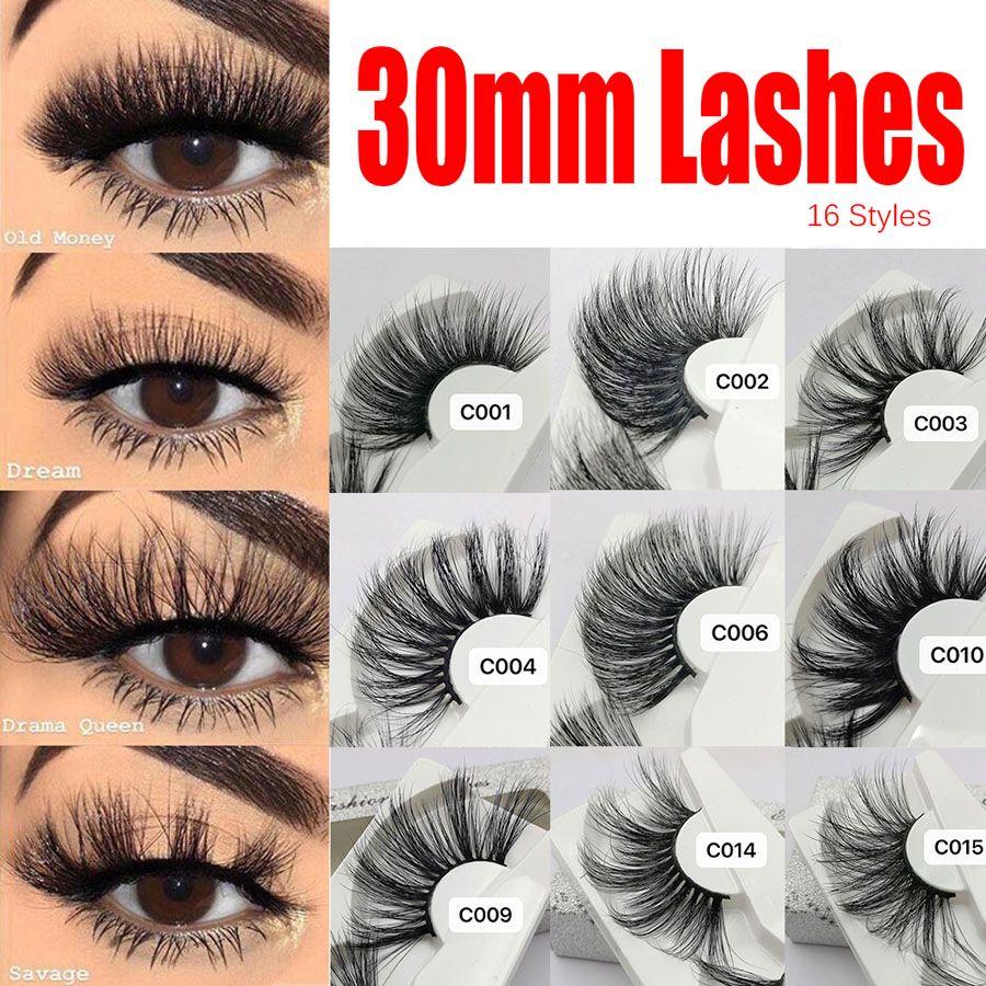 Super Long 25-30 mm 3D Mink Lashes 100% Real Mink Eyelashes Crisscross Natural Full Fake lashes Beauty Makeup Fluffy False Eyelash Extension