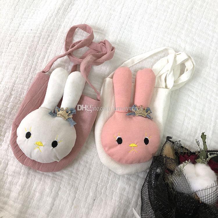 2 couleurs enfant blanc rose enfants sac de mini-cossbody petit sac à bandoulière de lapin mignon sac casual 2020 nouveau style