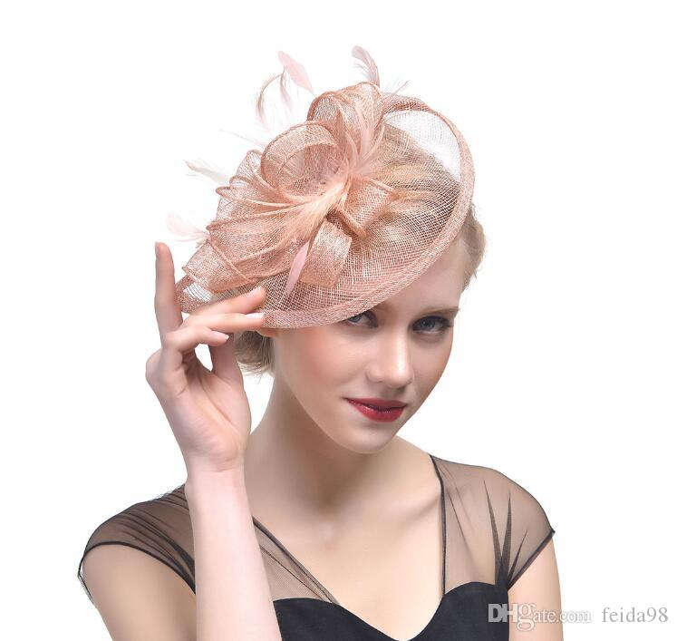 New Fascinator Hair Accessories Elegant Fashion Headwear Fancy Feather Beads Hair Pins Cocktail Party Hair Clips forgirls GB624