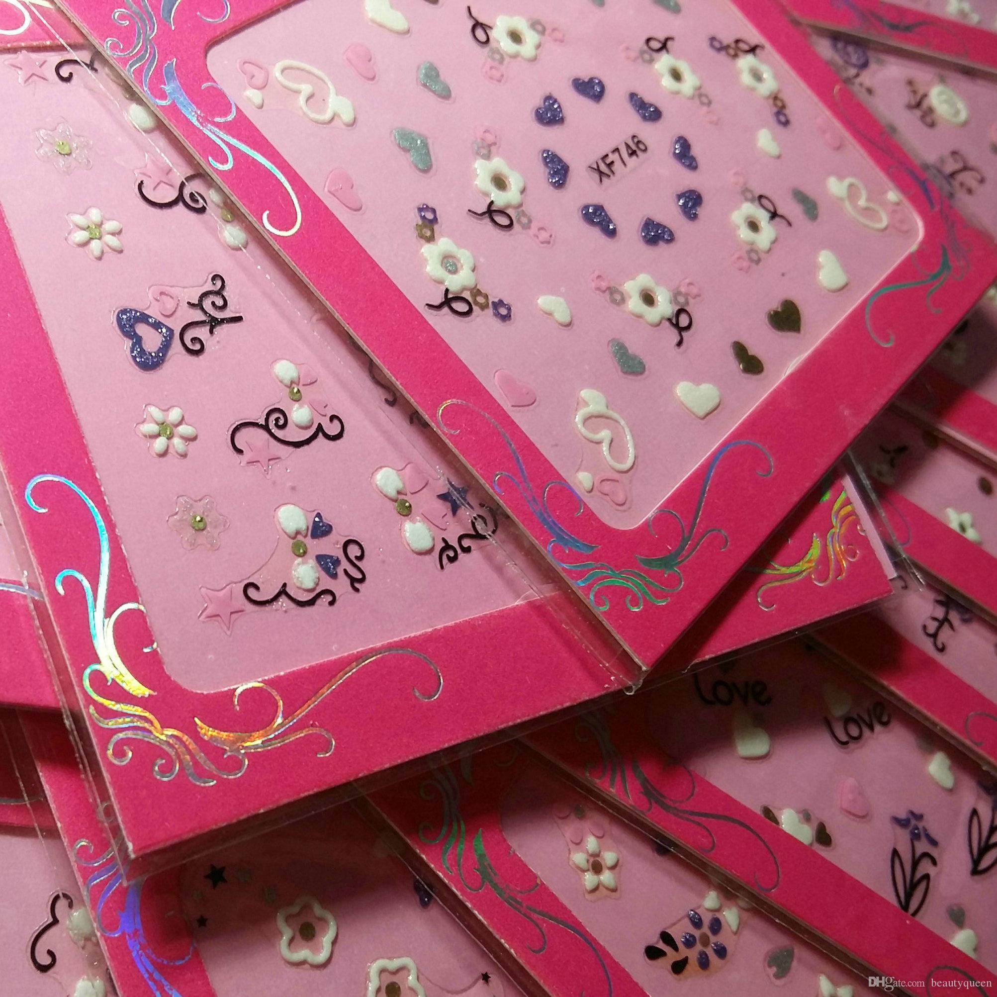 24 Stil Weiß, Rosa, Lila Balck Spitze-Blumen-3D Nagel-Kunst-Abziehbild-Aufkleber Aufkleber Glitter Aufkleber Tipps Dekorative Übertragung Acryl UV Gel NEU