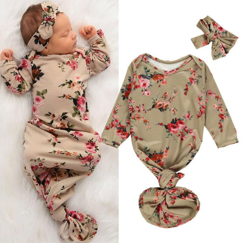 0-6m Recém-nascido Bebé Meninas Meninos Sleeping Bag Flowers Blanket Imprimir infantil gavetas Enrole Vestido Headband 2pcs Outfit