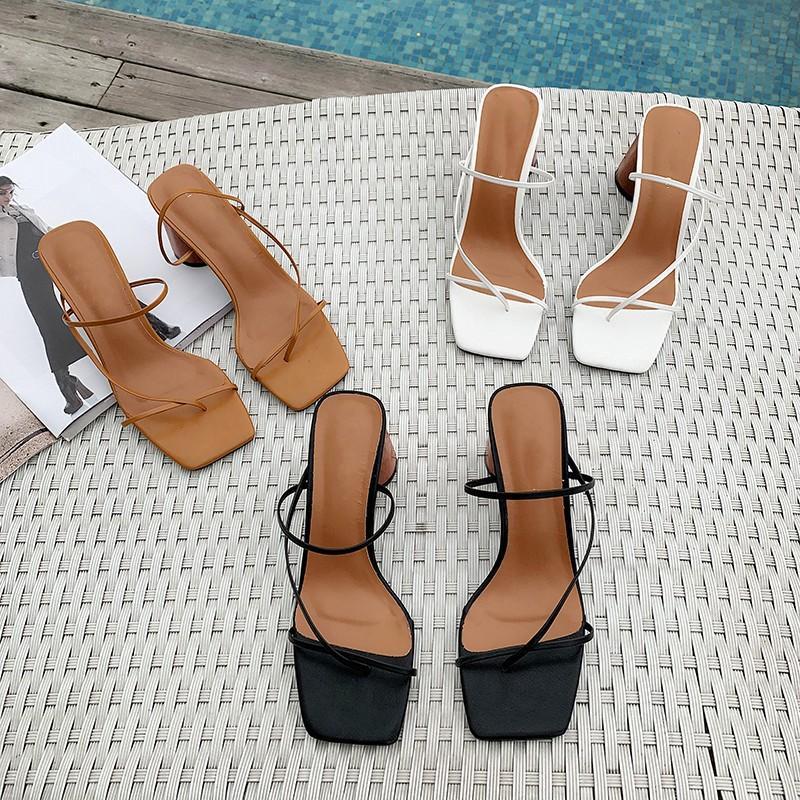 Женская обувь мулов классические сандалии твердые благородные туфли весна лето копыто каблук работы тапочки z127