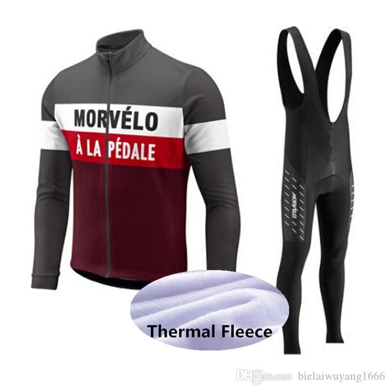 2020 new Morvelo Winter Thermal Fleece Cycling Long Sleeve Jersey Cycling Racing MTB Maillot Bike Bib Long Pants Set size XS-5XL