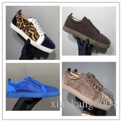 Designer Sneakers Red bottom Spikes Flat Velours Suede Sneakers Iron Grey men trainers 100% real leather Party shoes k0420