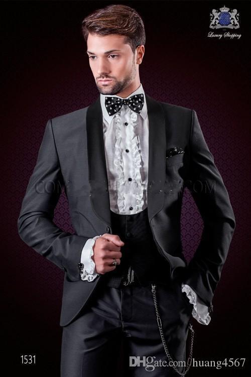 새로운 스타일 원 버튼 숯불 그레이 웨딩 신랑 턱시도 어깨 걸이 옷깃 Groomsmen 남성 복장 댄스 파티 블라우스 (자켓 + 바지 + 조끼 + 넥타이) 145