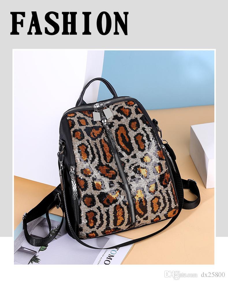 موضة الترتر المرأة حقيبة الظهر ليوبارد طباعة سعة كبيرة حقيبة مدرسية للسياحة في سن المراهقة فتاة السيدات الكتف حقيبة Mochila XA492H
