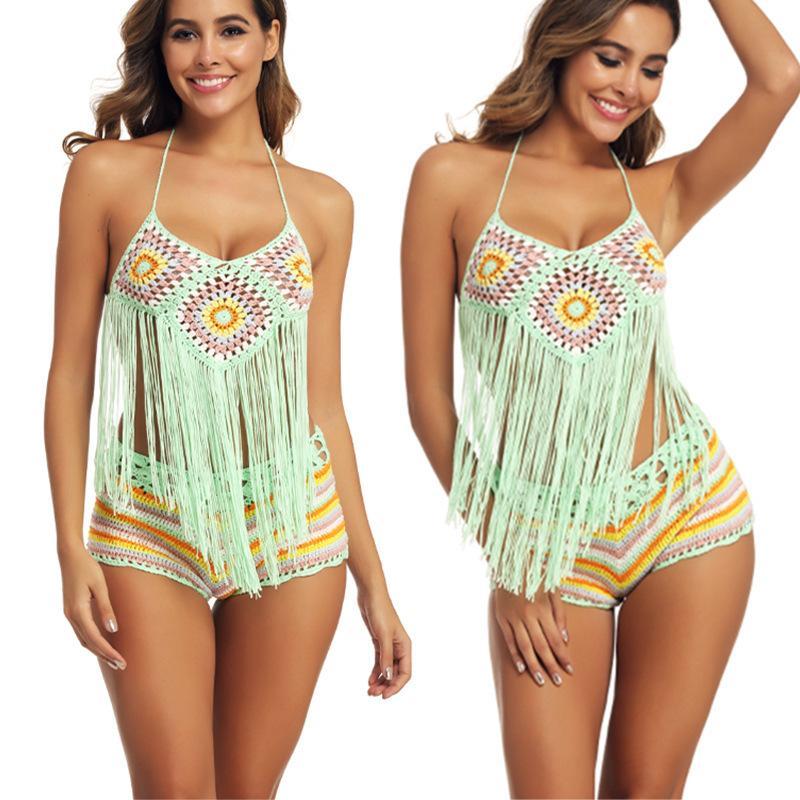Amazon 2020 Europa e in America veloce vendendo spiaggia mano gancio del bikini del vestito di colore nappa diviso all'ingrosso costumi da bagno