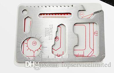250pcs охота кемпинг выживания карманный нож 11 в 1 мульти инструменты нож для кредитных карт из нержавеющей стали на открытом воздухе инструменты выживания