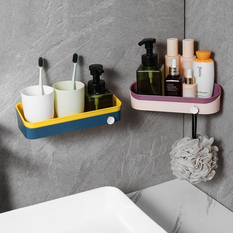 Baño de doble plástico de color de la cocina rack de almacenamiento y la pared del baño colgando rack de almacenamiento triángulo de plástico libre de punzonado