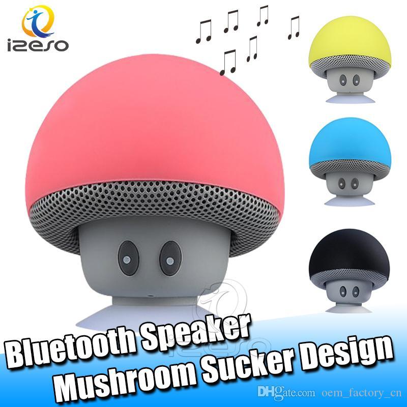 Dos desenhos animados Cogumelo sem fio Bluetooth Speaker impermeáveis Speakers Handsfree Mini com otário Cup Outdoor Início Speaker Portátil com izeso Mic