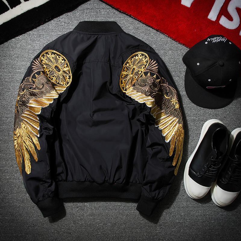 2017 Новая Коллекция Весна Черный Вышивка Бомбер Куртка Мужчины Уличная Одежда Бренд-одежда Дизайнерская Куртка
