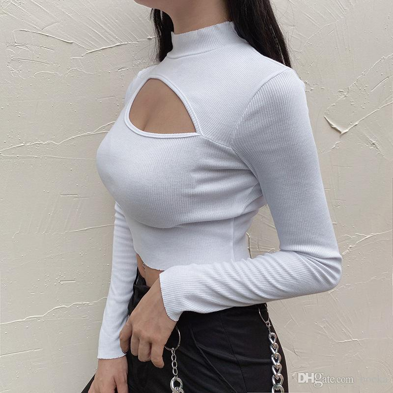 Sexy Design Patchwork Hollow Out Long Sleeve Crop Top 2020 Autumn Women White Color Stretch Basic T-Shirt