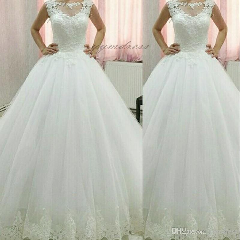 2019 New Elegant Tulle Ball Gown Wedding Dresses Beaded Top Lace Applique Floor Length Bridal Gowns Custom Made Wedding Gowns Cheap Ball Gowns Chiffon Wedding Dress From Yymdress 144 17 Dhgate Com