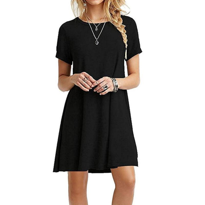 T Shirt Dresses Woman Casual Summer 2019 XXL Ladies Streetwear Beach Mini Dress Black White Blue Red Robe Tunique Femme L34