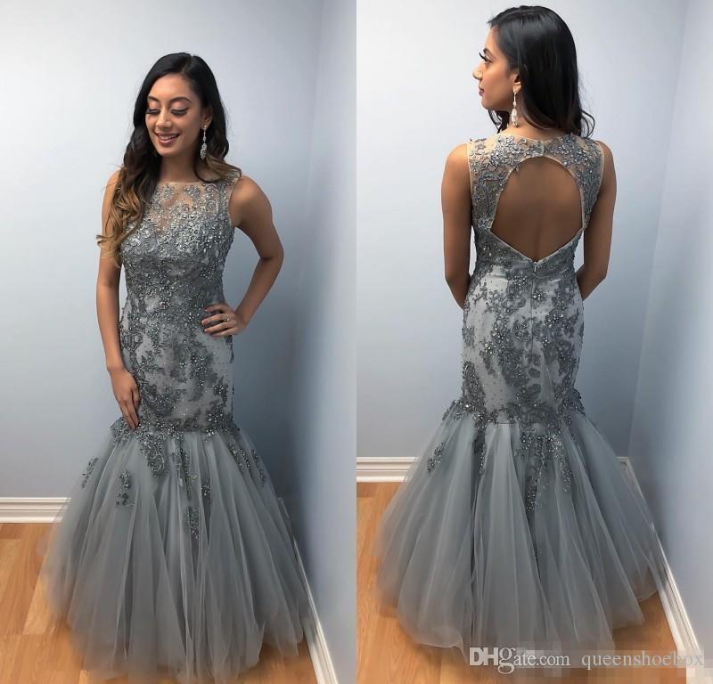 2019 Mode Meerjungfrau Abendkleider Jewel Neck Lace Appliques Perlen Abendkleider bodenlangen Maßgeschneiderte arabische Kleid für besondere Anlässe