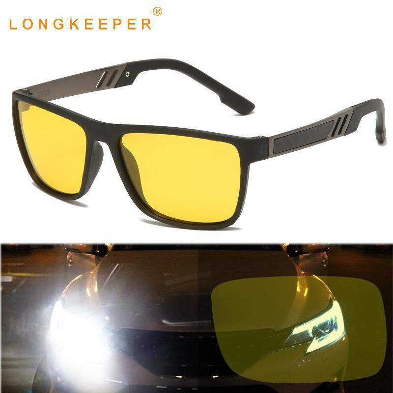Noite clássica Visão Óculos de sol das mulheres dos homens TR90 polarizada Driving óculos quadrados Yellow Sun Óculos para o condutor UV400 Goggles