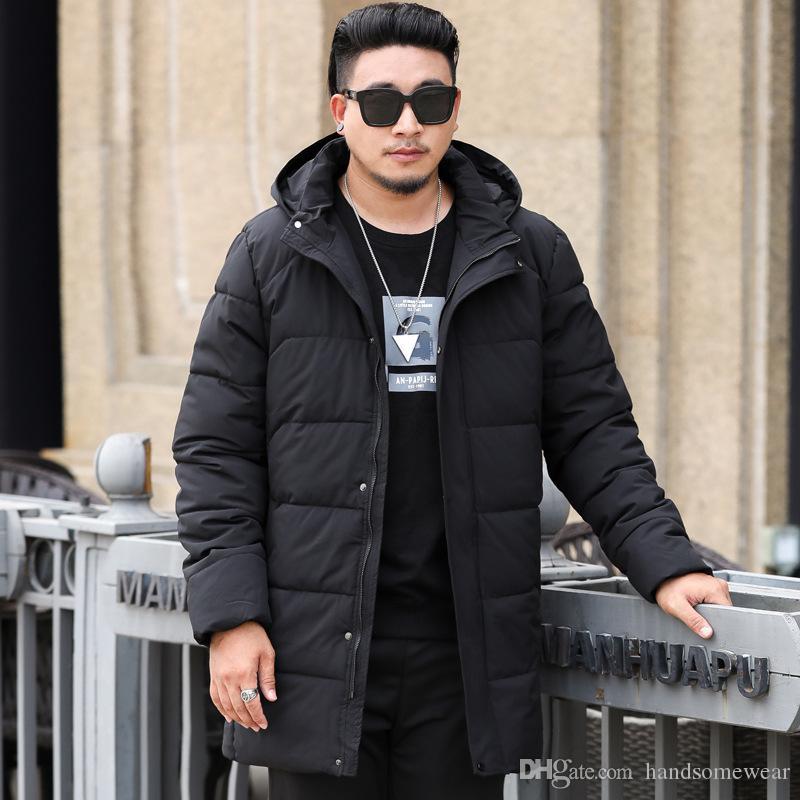Плюс Размер 10XL Parka для мужчин Нового зимнего с капюшоном куртки для мужчин Длинных курток Solid Color Coats Parkas Молодёжной одежды
