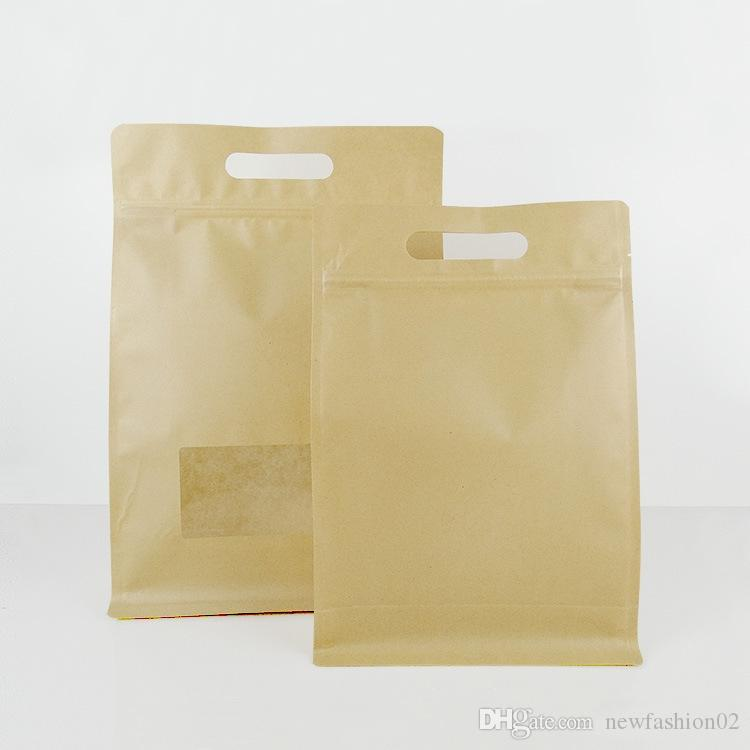 10 pcs grandes medições de marrom embalagens de papel kraft embalagens com janela clara e manipular bolsas de café oito bolsas de vedação laterais