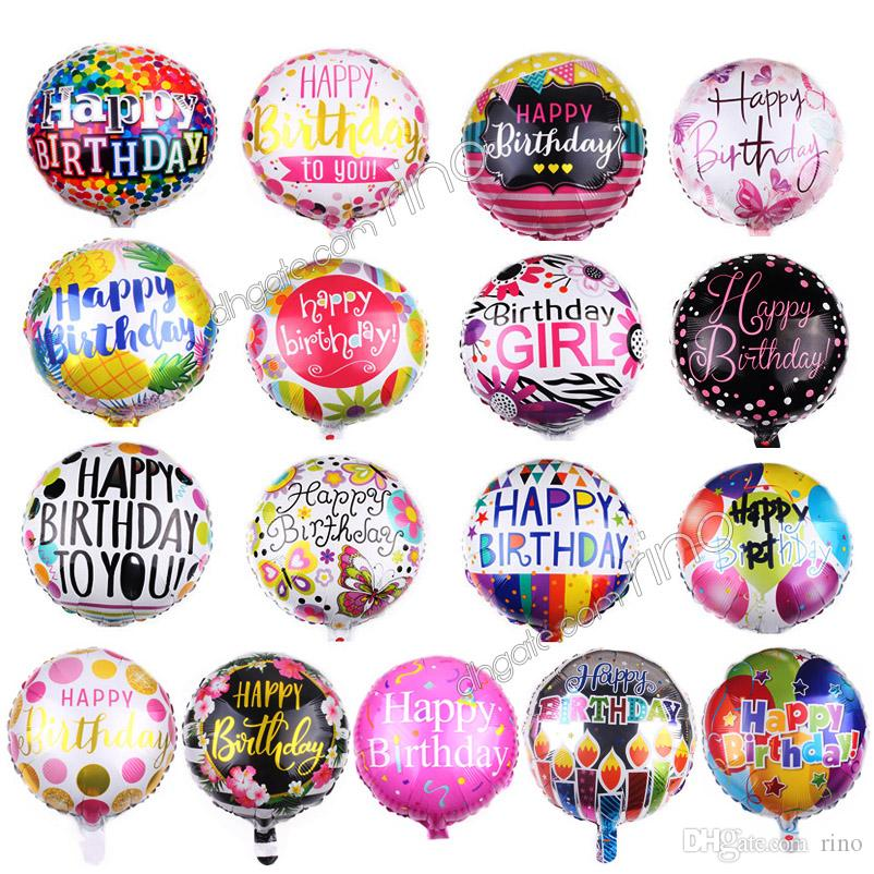 Inflatable happy birthday party balloons decorations 18 Inch cartoon helium foil balloon kids flowers birthday ballons toys