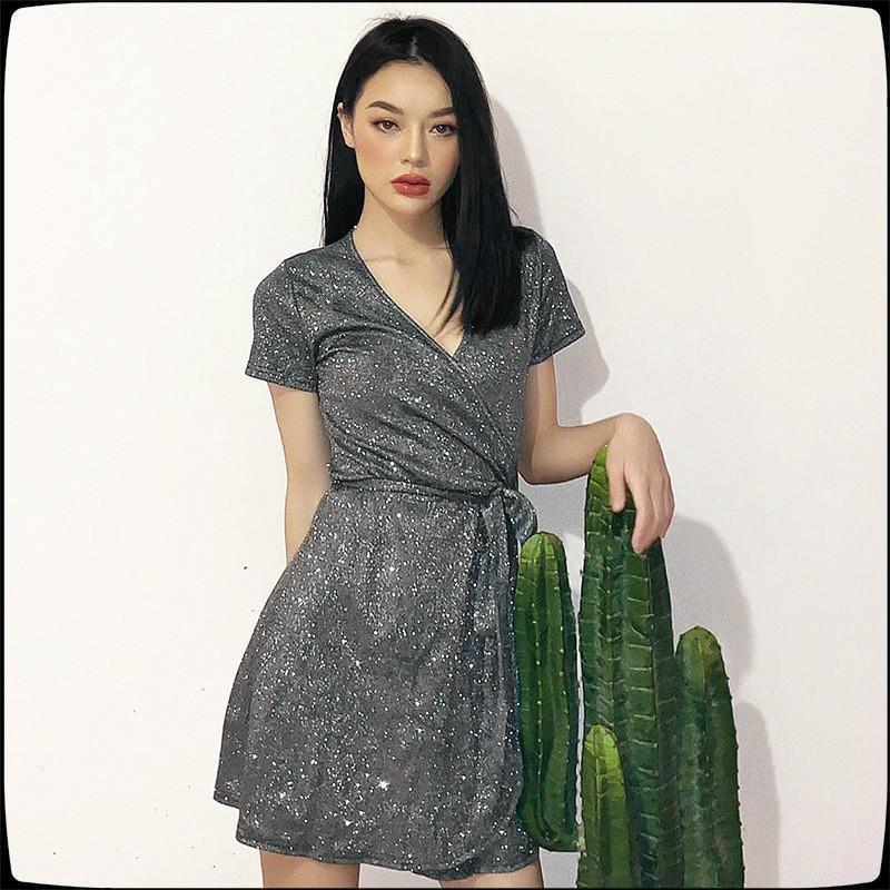 2020 лето новый конструктор женская мода сексуальная шику яркий шелковый V-образным вырезом кружева платье бренд Европейский и американский модели взрыва женщины
