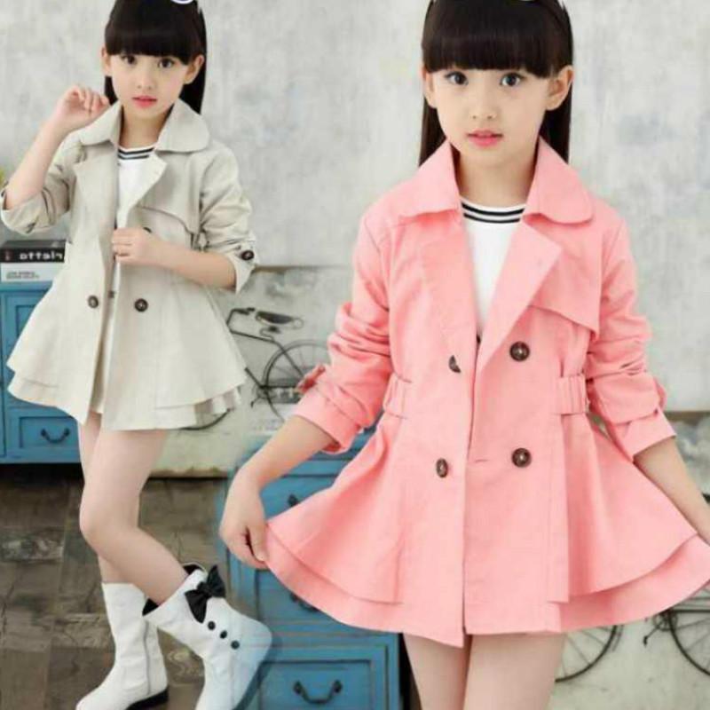 Девушки весна и осень ветровка пальто детское пальто Новая детская одежда Baby Girls платье с жакетом
