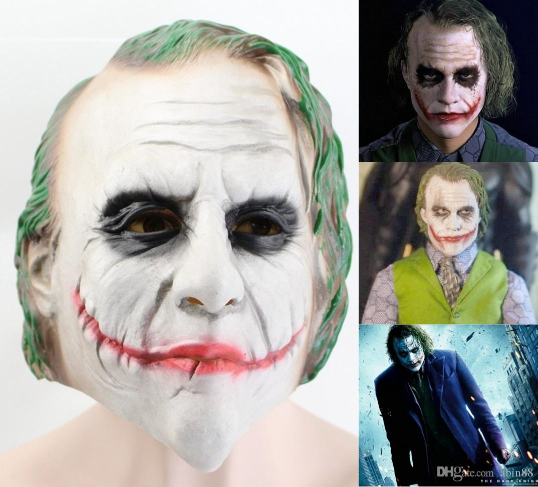 Movie Batman The Dark Knight Cosplay Horror Scary Clown Mask Halloween Latex Mask With Green Hair Wig Party Costume Props
